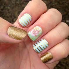 mint green & Gold stripe, vintage chic floral & gold sparkle. Love this combo! #nails #nailart #jamberry