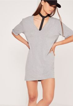 Wide Harness Neck Oversized Dress Grey - Missguided
