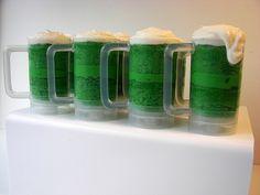 Green Beer Mug Cupcake Push Pops