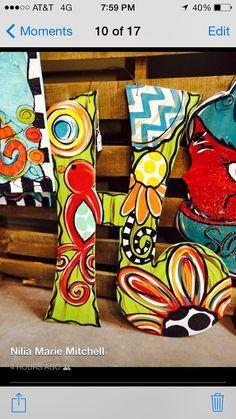 Initial door hanger bright and funky by JustDotsCo on Etsy Canvas Door Hanger, Letter Door Hangers, Initial Door Hanger, Burlap Door Hangers, Painted Initials, Painted Letters, Wood Letters, Painted Doors, Kids Letters