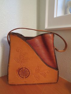 Vintage Mexican Tooled Leather Purse Handbag Purse by ScootersShop, $48.00