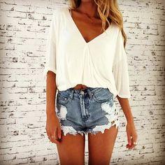 Cute V-Neck White Crop Top With Denim Shorts #cutesummeroutfitsforschool #femininesummeroutfits