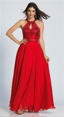 A-Line gown that features a beaded bodice as well as a small key hole neckline