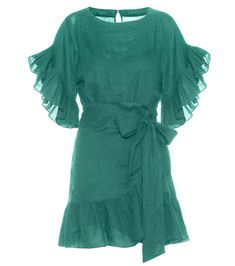 Isabel Marant, Étoile - Delicia linen wrap dress - Isabel Marant, Étoile's Delicia dress is crafted entirely from linen with a wrapped skirt detail to add feminine charm. The ruffles at the hem and sleeves complement the girly look, while the rich green hue keeps the impression chic. Style yours with ankle boots and a fringed bag for boho attitude. seen @ www.mytheresa.com