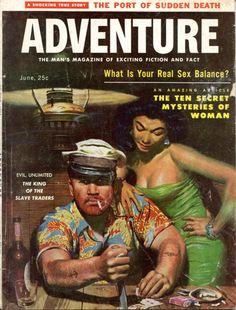 Cover of Adventure, June 1957, art by Mort Kunstler (as Emmett Kaye).