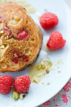 Almond and Raspberry Pancakes by tartineandapronstrings #Pancakes #Almond #Raspberrry
