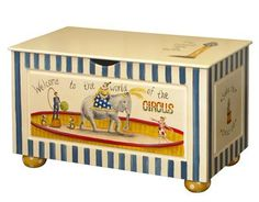 AFK's Toy Chest, shown in Tea-stain Finish with Vintage Circus hand-painted Motif.  Customize our toy chest with any of our AFK Finishes or Motifs!  Contact our AFK Beverly Hills Store for information at (310) 657-6300.