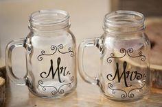 shabby chic wedding | bride and groom's personalized mason jar glasses | Mandy Owens Wedding Photography