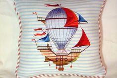 Nautical Pillow  Embroidered pillow  Light by JulieButlerCreations, $30.00