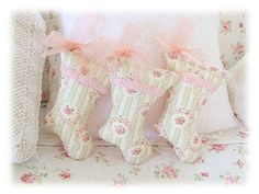 Christmas Stocking Decorations #shabby #pink & green