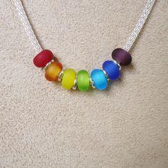 Rainbow Sea Glass Necklace with Handmade Lampwork Beads
