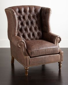 """Handcrafted chair. Hardwood frame. Aniline-dyed leather upholstery. 35""""W x 37""""D x 45""""T; seat, 22""""W x 23""""D x 26""""T. Made in the USA of imported materials. Boxed weight, approximately 75 lbs."""