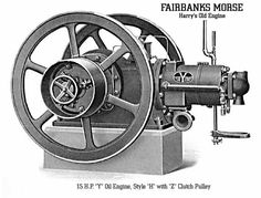 This Fairbanks Morse engine is a 15 horse power fuel injection Diesel and is water cooled from an external tank. It had many commercial applications including refrigeration, irrigation, oil line pumping and power generation. Toy Steam Engine, Fairbanks Morse, Diesel Oil, Antique Light Fixtures, Antique Tractors, Combustion Engine, Gasoline Engine, Outboard Motors, Diesel Engine