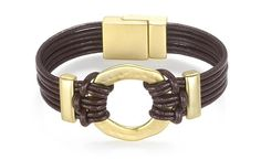 "Six Strand Brown Leather Cord Bracelet (7"") with Goldtone Accent Pieces"