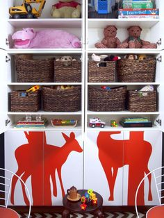 ready made kitchen cabinets with decals on front for decoration hold toys inside, Small Space Decorating: Shared Kids' Room and Storage Ideas : Rooms : HGTV