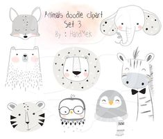 Animals doodle set 3, Woodland Clipart ,Animals clipart Instant Download PNG file - 300 dpi by HandMek on Etsy https://www.etsy.com/listing/495058892/animals-doodle-set-3-woodland-clipart