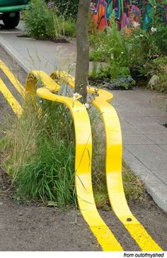 Art everywhere… funny whimsical street art installation yellow lines I have… Land Art, Urban Furniture, Street Furniture, Graffiti, Urban Landscape, Landscape Design, Street Art, Street Signs, Wow Art