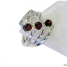 Riyo Wise Garnet 925 Solid Sterling Silver Red Ring Srgar6-26131