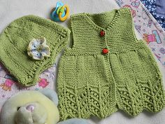 Baby knitted dress & hat