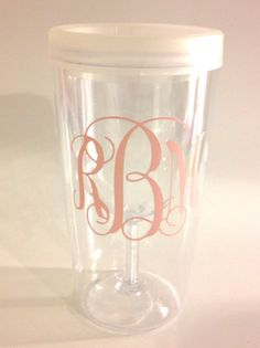 Bachelorette Party Package!! -6 Monogramed Wine Tumblers and 6 Bachelorette Koozies on Etsy, $36.00