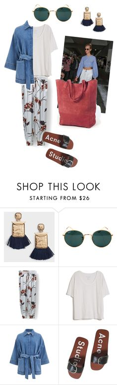 """After School"" by klara-engholm on Polyvore featuring MANGO, Ray-Ban, Sanders, Fine Collection, Ganni and Acne Studios"