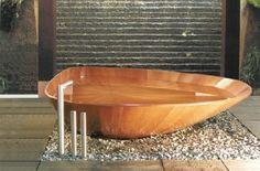 Unique Bathroom Design Ideas with wooden bathtub Bathroom Interior Design, Modern Interior Design, Interior Decorating, Concrete Bathtub, Wood Tub, Modern Bathtub, Modern Bathroom, Nature Bathroom, Asian Bathroom