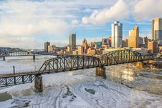 Ice covered Monongahela River at sunset in Pittsburgh By Dave DiCello.  My favorite Burgh Photographer