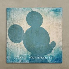 """Disney wall art canvas in vintage style mickey mouse """"never stop dreaming"""" for baby's room. Worldwide FREE SHIPPING with tracking number! on Etsy, $39.09"""