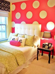 polka dot wall. monogram pillows.