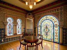 Beautiful tea room with a moroccan flair and stained glass window