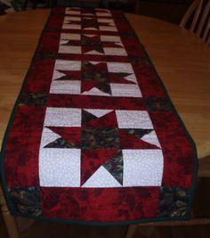 Star Pattern Christmas Table Runner by PegsPatchesandPurls on Etsy