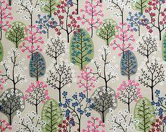 Scandinavian fabric remnants floral crafting fabric offcut blue flowers spira