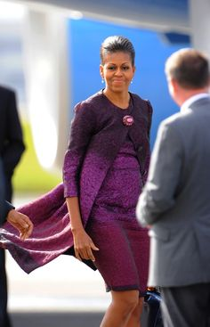 Mrs Obama wearing a custom Peter Som coat and dress.