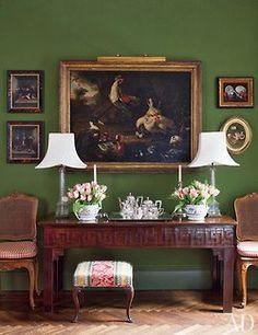 lovely buffet and dark green walls
