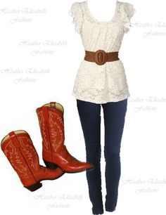 Country Outfit. Love the boots