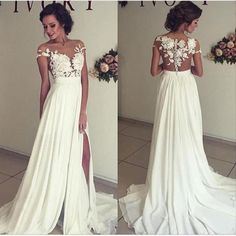 A-line Off the Shoulder See-through Sleeveless Beaded Lace Appliqued Bodice Mini length Beach Wedding Dress
