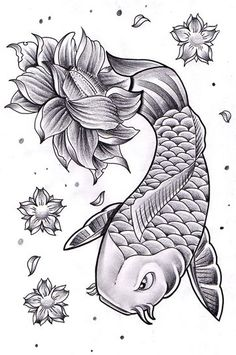 koi with lotus & cherry blossoms. Koi with Lotus Coy Fish Tattoos, Foot Tattoos, Small Tattoos, Sleeve Tattoos, Tatoos, Flower Tattoo Drawings, Flower Tattoos, Lotus Tattoo Design, Tattoo Designs