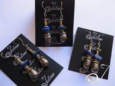 Designer Dark Pearl and Lapis Sterling Silver Drop Earring.