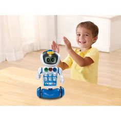 Vtech Learning Robot helps children learn letters, sounds, counting, foods, shapes, animals, seasons, weather and how to find the difference. Clap your hands to see Vtech Learning Robot Gadget dance! He has 3 double sided cards with 6 different games which can be stored away in his card holder. Change Gadget's facial features by turning the gears.