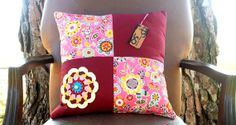 REF A009  Handmade floral bordeaux throw by OutofSpaceDesign, $55.00