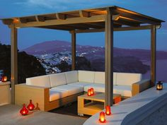 backyard idea - awning with seating area for evening lounging?