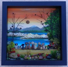 Pebble Art, Rock Art, Pebble Art Family and pets, outdoors, sunset, white capped mountains, unique pebble art, 9x9 shadowbox (FREE SHIPPING)