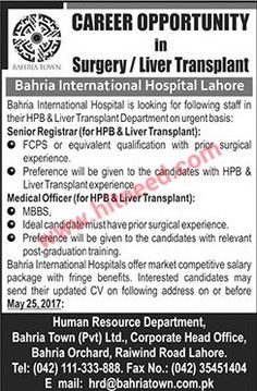 Bahria International Hospital, Surgery / Liver Transplant Jobs, May 2017  Last Date: 25
