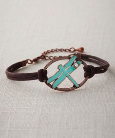 Look what I found on #zulily! Brown & Turquoise Dragonfly Bracelet by Big Sky Silver #zulilyfinds