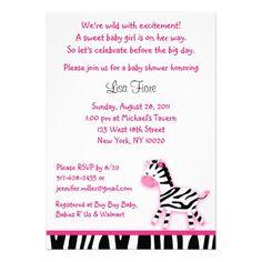 Sweet Pink Zebra Custom Baby Shower Invitations