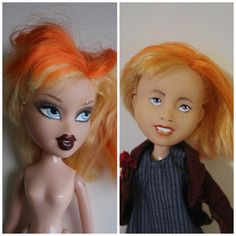 Natural Doll, Bratz Doll recreate, Repainted Bratz Doll make under, Before and After, Dolls, Gifts for Her,