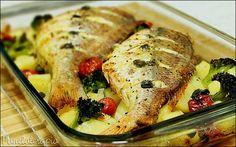 PANELATERAPIA - Blog de Culinária, Gastronomia e Receitas: Pargo Assado em Cama de Legumes