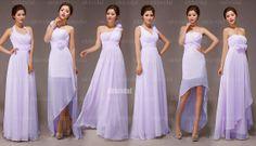 verschiedene Schnitte für Brautjungfernkleider