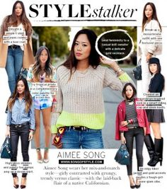 Aimee Song / Song of Style Song Of Style, Real Style, My Style, Autumn Inspiration, Style Inspiration, Creative Inspiration, Knit Sweater Outfit, Aimee Song, Polka Dot Blouse