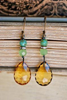 Maxine. vintage glass topaz drop earrings. Tiedupmemories